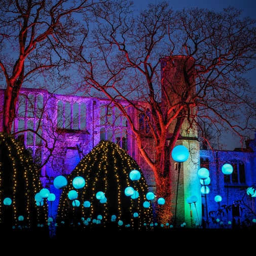 Sudeley Castle special lighting effects for Spectacle of Light