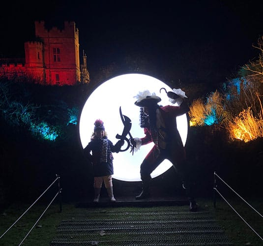 Spectacle of Light Sudeley Castle - Peter Pan and Captain Hook light spectacle